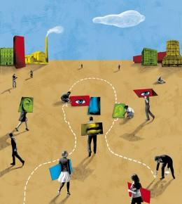 Création d'une illustration pour le journal Alternatives Économiques, ouverture d'un dossier sur l'évolution de la société française.