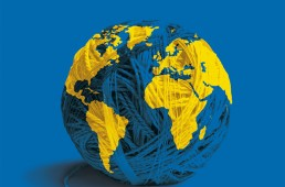 Conception graphique et illustration de couverture de la version livre de l'Atlas 2009 du Monde diplomatique.