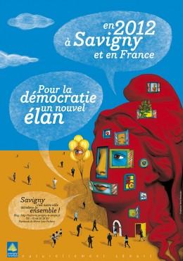 Affiche pour les vœux 2012 de la ville de Savigny-Le-Temple sur le thème de la démocratie locale.