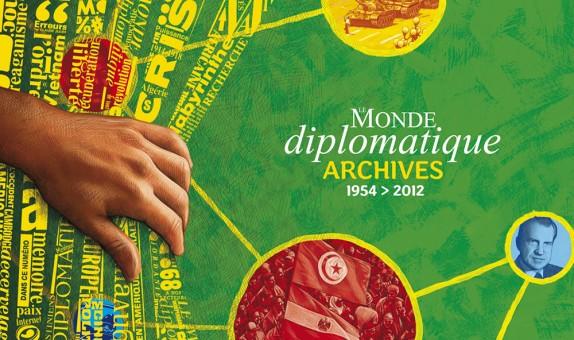 Conception graphique et illustration de couverture du DVD des archives du Monde diplomatique, édition 2013.