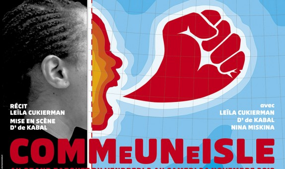 Affiche pour une pièce autobiographique d'une femme juive, antillaise et militante communiste.