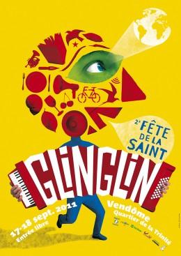 Affiche de la fête de la Saint Glinglin à Vendôme. Un événement organisé par les associations écologistes.