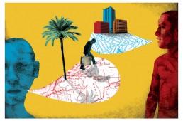 Illustration pour Le Monde diplomatique, article sur le mélange entre la langue d'origine des immigrés et la langue du pays d'accueil.