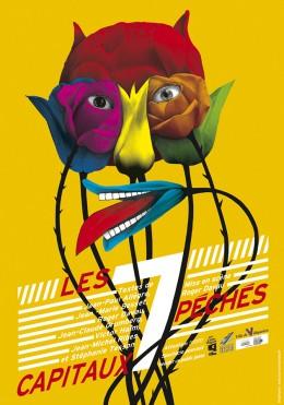Affiche pour une pièce de théâtre sur le thème des sept péchés capitaux.