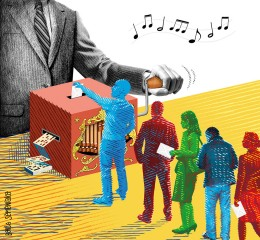 Illustration dans les pages Débats du journal Le Monde sur « La révolution inachevée des primaires » en France